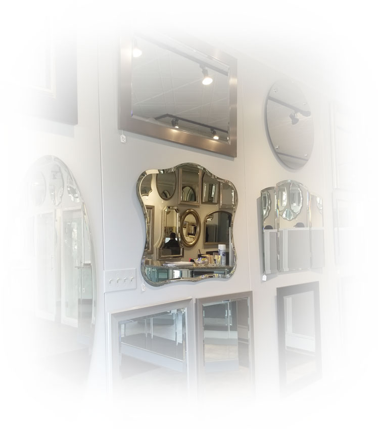 A gallery of antique mirrors with ornate frames.