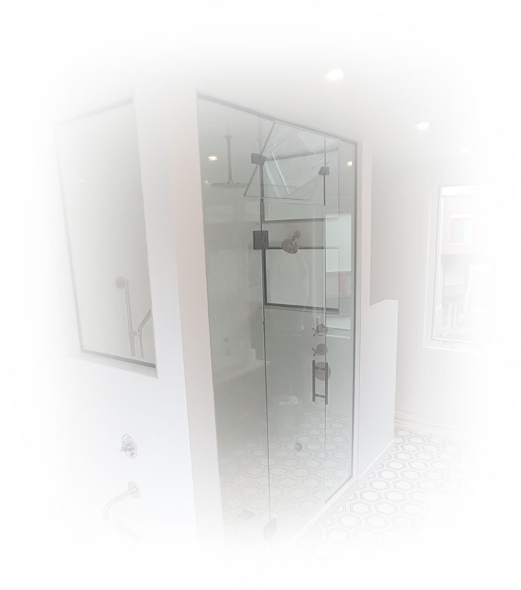 Standing shower with inset window.