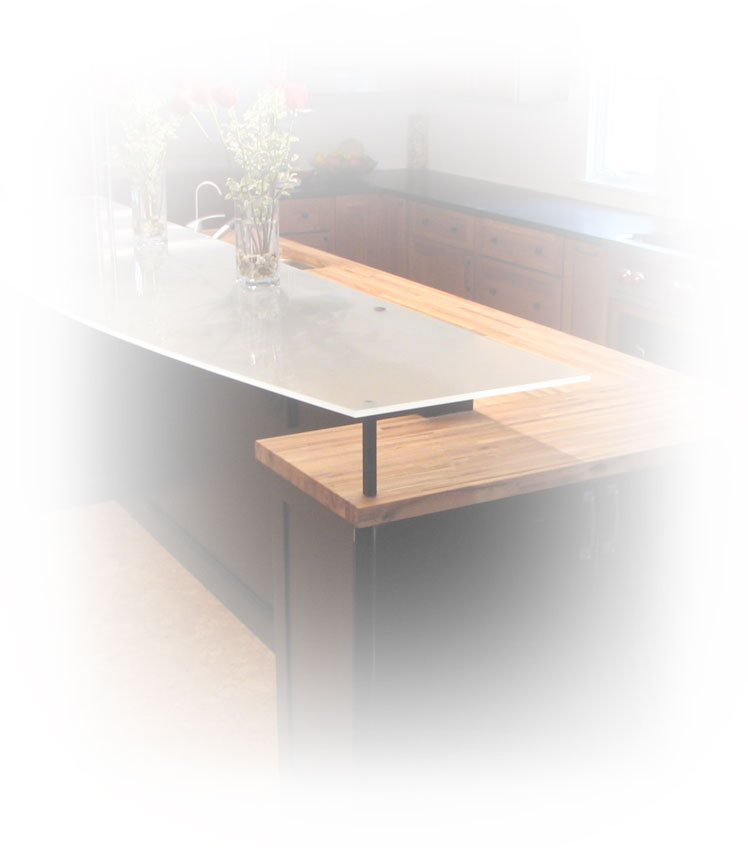 Stylized custom foggy glass countertop.