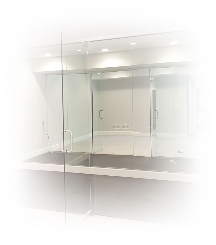 Empty workout or dance room with glass walls.